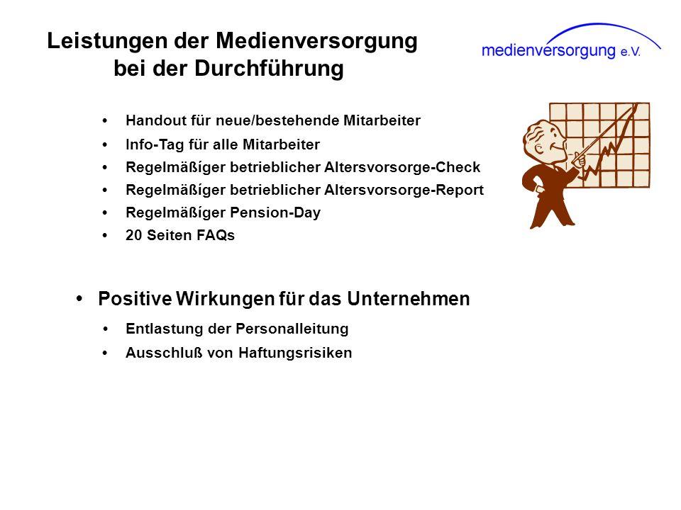 Leistungen der Medienversorgung bei der Durchführung Handout für neue/bestehende Mitarbeiter Info-Tag für alle Mitarbeiter Regelmäßíger betrieblicher