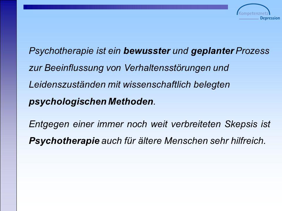 Psychotherapie ist ein bewusster und geplanter Prozess zur Beeinflussung von Verhaltensstörungen und Leidenszuständen mit wissenschaftlich belegten ps
