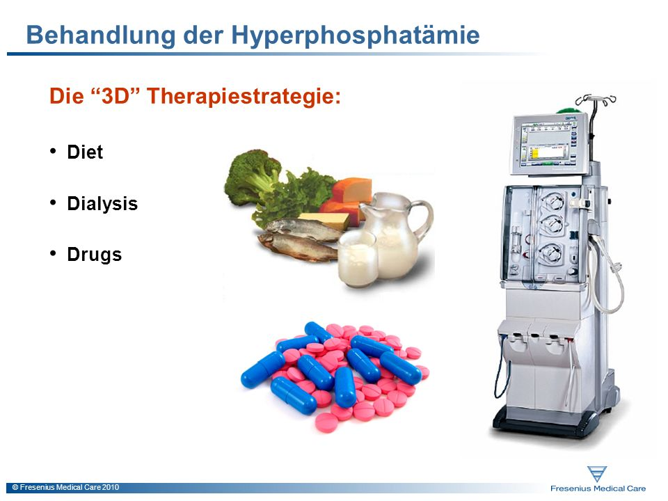 © Fresenius Medical Care 2010 Behandlung der Hyperphosphatämie Die 3D Therapiestrategie: Diet Dialysis Drugs