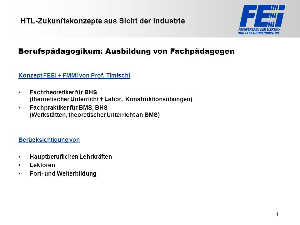 >>> VAT >>> FMK >>> VBI >>> UFH >>> FH TECHNIKUM Wien >>> EV >>> HLP >>> MMF HTL-Zukunftskonzepte aus Sicht der Industrie Konzept FEEI + FMMI von Prof