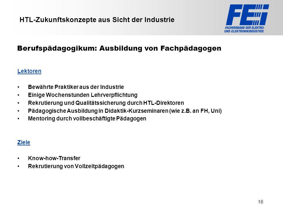 >>> VAT >>> FMK >>> VBI >>> UFH >>> FH TECHNIKUM Wien >>> EV >>> HLP >>> MMF HTL-Zukunftskonzepte aus Sicht der Industrie Lektoren Bewährte Praktiker