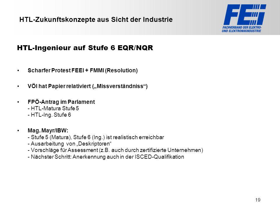 >>> VAT >>> FMK >>> VBI >>> UFH >>> FH TECHNIKUM Wien >>> EV >>> HLP >>> MMF HTL-Zukunftskonzepte aus Sicht der Industrie Scharfer Protest FEEI + FMMI
