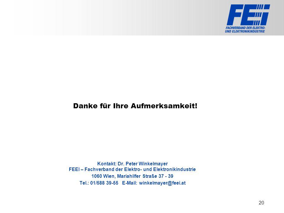 >>> VAT >>> FMK >>> VBI >>> UFH >>> FH TECHNIKUM Wien >>> EV >>> HLP >>> MMF Danke für Ihre Aufmerksamkeit! Kontakt: Dr. Peter Winkelmayer FEEI – Fach