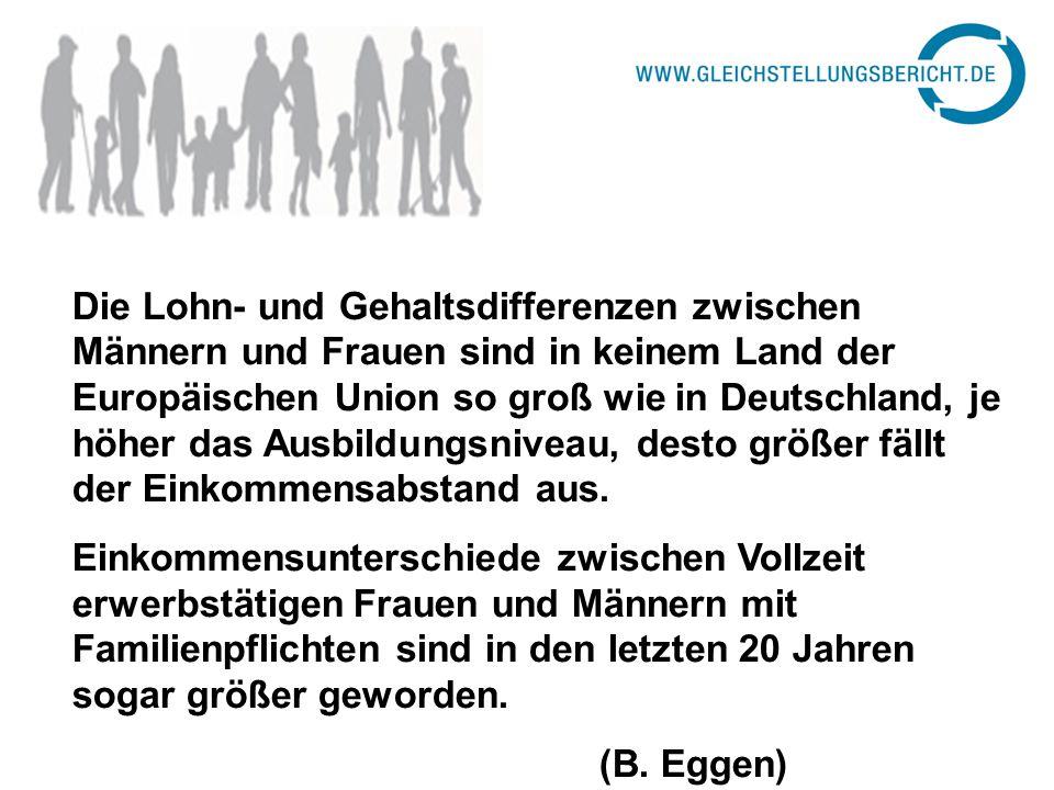 Die Lohn- und Gehaltsdifferenzen zwischen Männern und Frauen sind in keinem Land der Europäischen Union so groß wie in Deutschland, je höher das Ausbi