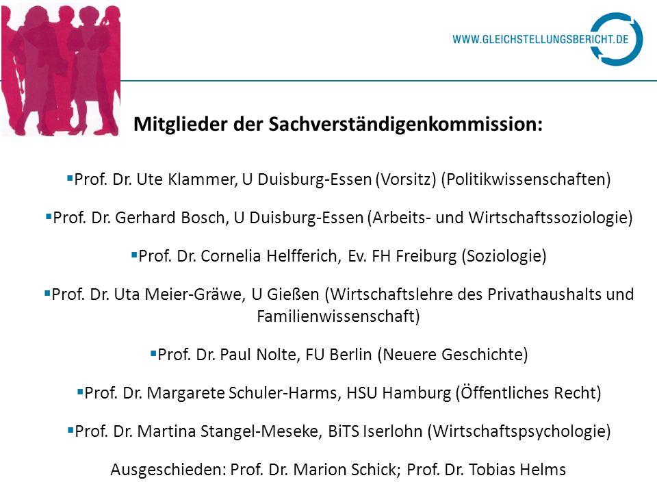 Mitglieder der Sachverständigenkommission: Prof. Dr. Ute Klammer, U Duisburg-Essen (Vorsitz) (Politikwissenschaften) Prof. Dr. Gerhard Bosch, U Duisbu