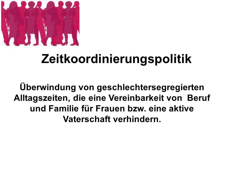 Überwindung von geschlechtersegregierten Alltagszeiten, die eine Vereinbarkeit von Beruf und Familie für Frauen bzw. eine aktive Vaterschaft verhinder