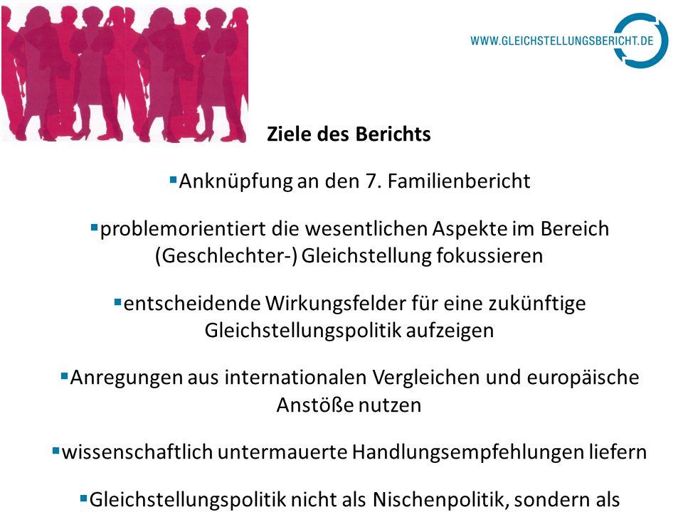 Ziele des Berichts Anknüpfung an den 7. Familienbericht problemorientiert die wesentlichen Aspekte im Bereich (Geschlechter-) Gleichstellung fokussier