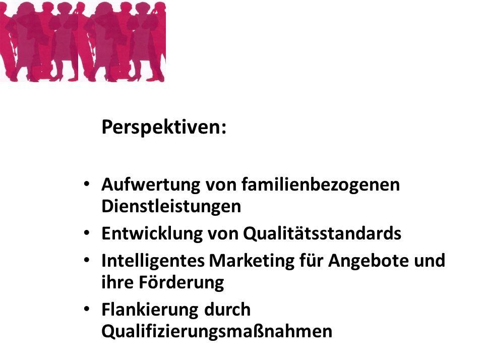 Perspektiven: Aufwertung von familienbezogenen Dienstleistungen Entwicklung von Qualitätsstandards Intelligentes Marketing für Angebote und ihre Förde