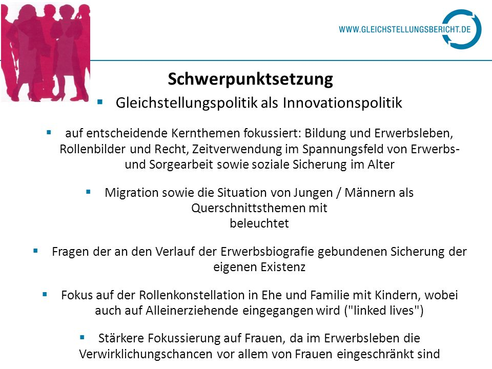 Wöchentliche Erwerbsarbeitszeiten der abhängig Beschäftigten (Teilzeit- und Vollzeitbeschäftigte) zwischen 2001 und 2006, Deutschland (in Std.) 200120042006 Insgesamt35,034,334,0 Männer39,038,538,4 Frauen30,2 Differenz 8,8 Std.