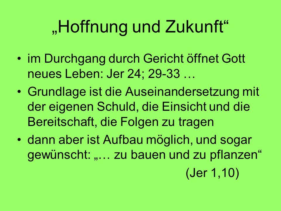Hoffnung und Zukunft im Durchgang durch Gericht öffnet Gott neues Leben: Jer 24; 29-33 … Grundlage ist die Auseinandersetzung mit der eigenen Schuld,