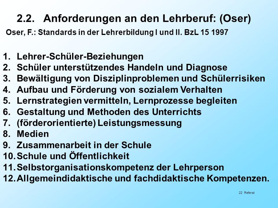 2.2. Anforderungen an den Lehrberuf: (Oser) Oser, F.: Standards in der Lehrerbildung I und II. BzL 15 1997 1.Lehrer-Schüler-Beziehungen 2.Schüler unte