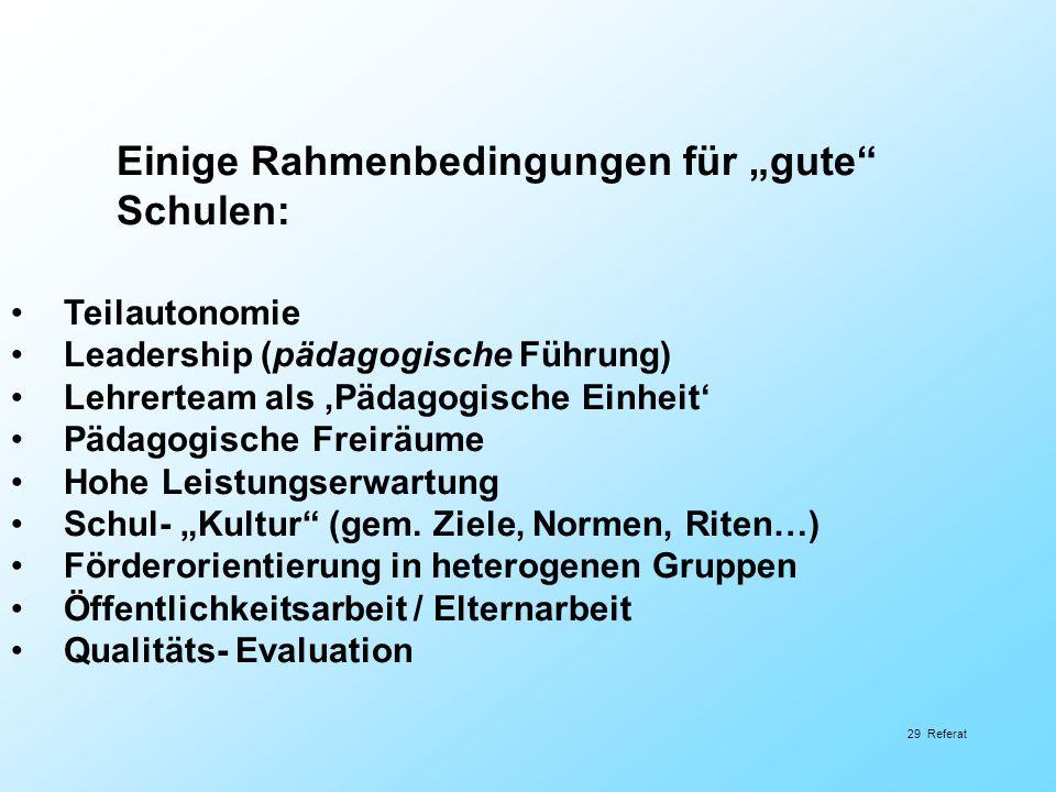 Einige Rahmenbedingungen für gute Schulen: Teilautonomie Leadership (pädagogische Führung) Lehrerteam als Pädagogische Einheit Pädagogische Freiräume