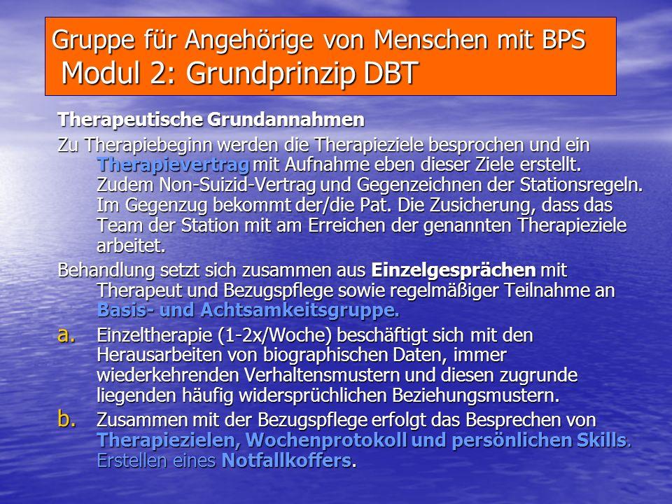 Gruppe für Angehörige von Menschen mit BPS Modul 1: Beschreibung der Störung Allgemeine Kriterien einer Persönlichkeitsstörung Diagosekriterien nach I