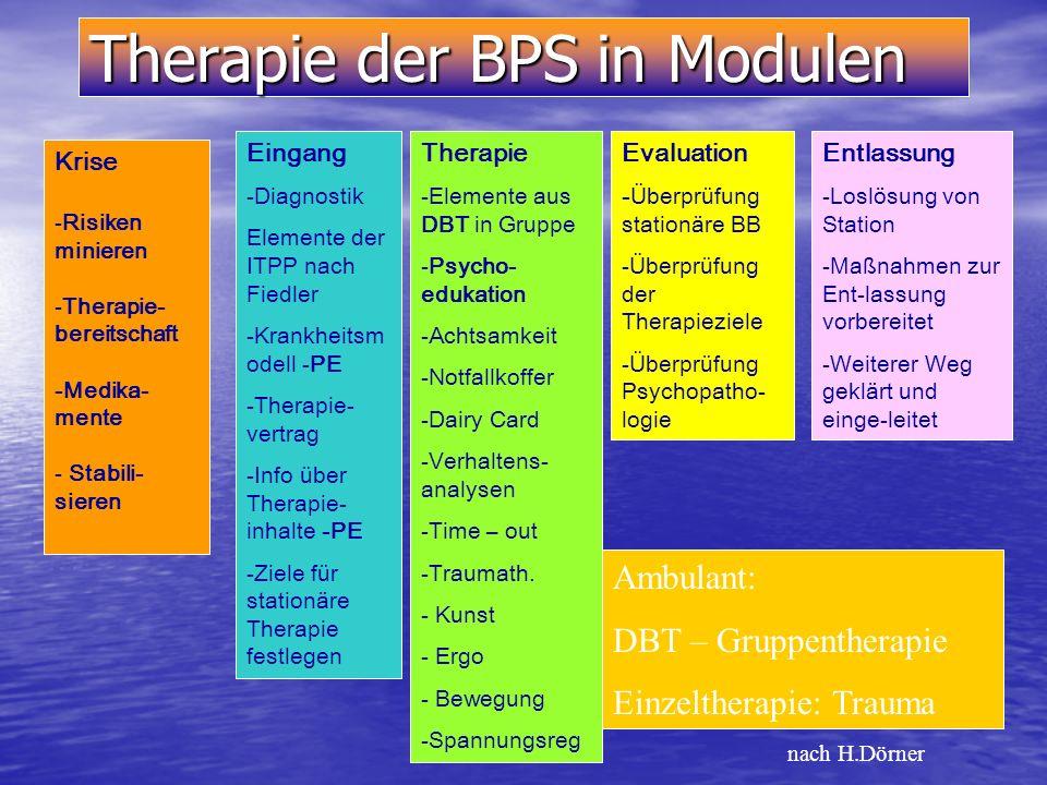 Problembereiche der BPS- Symptomatik auf klinischer Ebene: Affektregulation Selbstbild Psychosoziale Integration Kognitive Funktionsfähigkeit (u.a. di