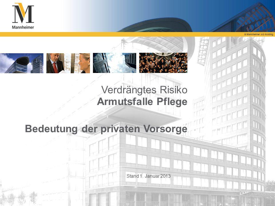 © Mannheimer AG Holding Verdrängtes Risiko Armutsfalle Pflege Bedeutung der privaten Vorsorge Stand 1. Januar 2013