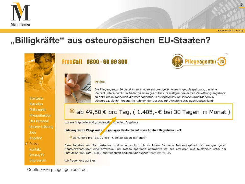 13 © Mannheimer AG Holding Billigkräfte aus osteuropäischen EU-Staaten? Quelle: www.pflegeagentur24.de