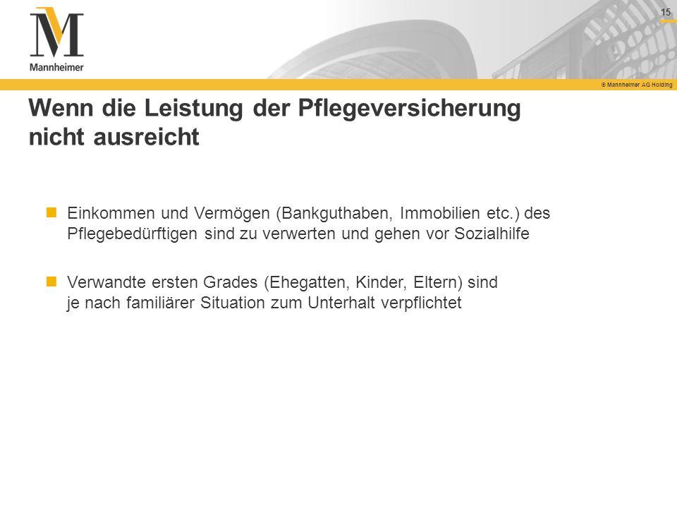 15 © Mannheimer AG Holding Wenn die Leistung der Pflegeversicherung nicht ausreicht Einkommen und Vermögen (Bankguthaben, Immobilien etc.) des Pflegeb