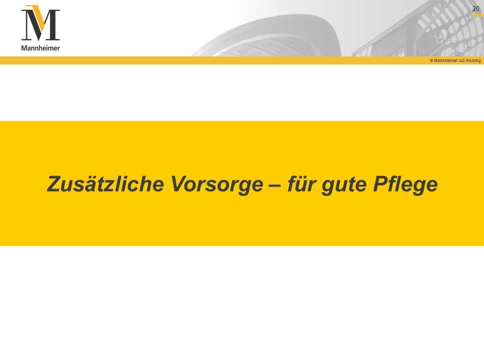 20 © Mannheimer AG Holding Zusätzliche Vorsorge – für gute Pflege