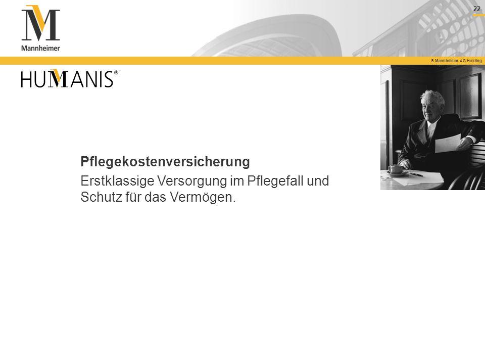 22 © Mannheimer AG Holding Pflegekostenversicherung Erstklassige Versorgung im Pflegefall und Schutz für das Vermögen.
