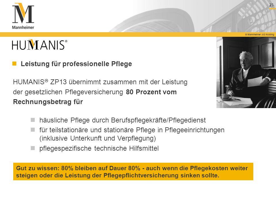 23 © Mannheimer AG Holding HUMANIS ZP13 übernimmt zusammen mit der Leistung der gesetzlichen Pflegeversicherung 80 Prozent vom Rechnungsbetrag für häu