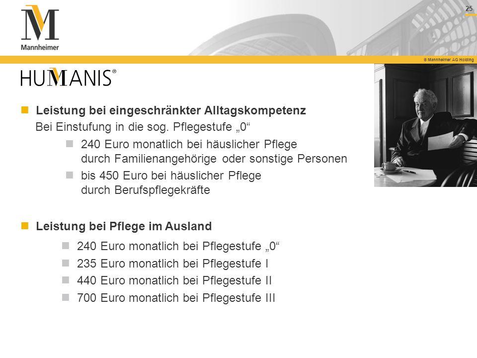 25 © Mannheimer AG Holding Bei Einstufung in die sog. Pflegestufe 0 240 Euro monatlich bei häuslicher Pflege durch Familienangehörige oder sonstige Pe