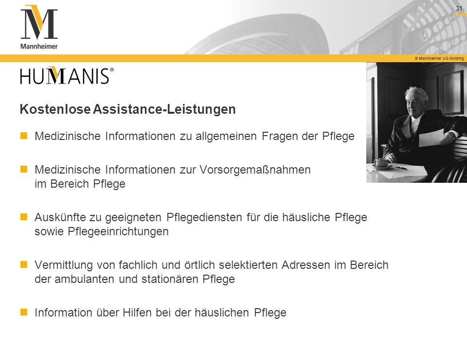 31 © Mannheimer AG Holding Medizinische Informationen zu allgemeinen Fragen der Pflege Medizinische Informationen zur Vorsorgemaßnahmen im Bereich Pfl