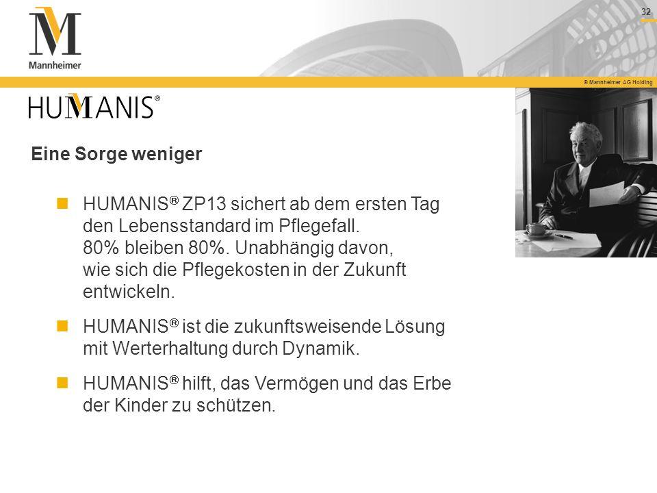 32 © Mannheimer AG Holding Eine Sorge weniger HUMANIS ZP13 sichert ab dem ersten Tag den Lebensstandard im Pflegefall. 80% bleiben 80%. Unabhängig dav