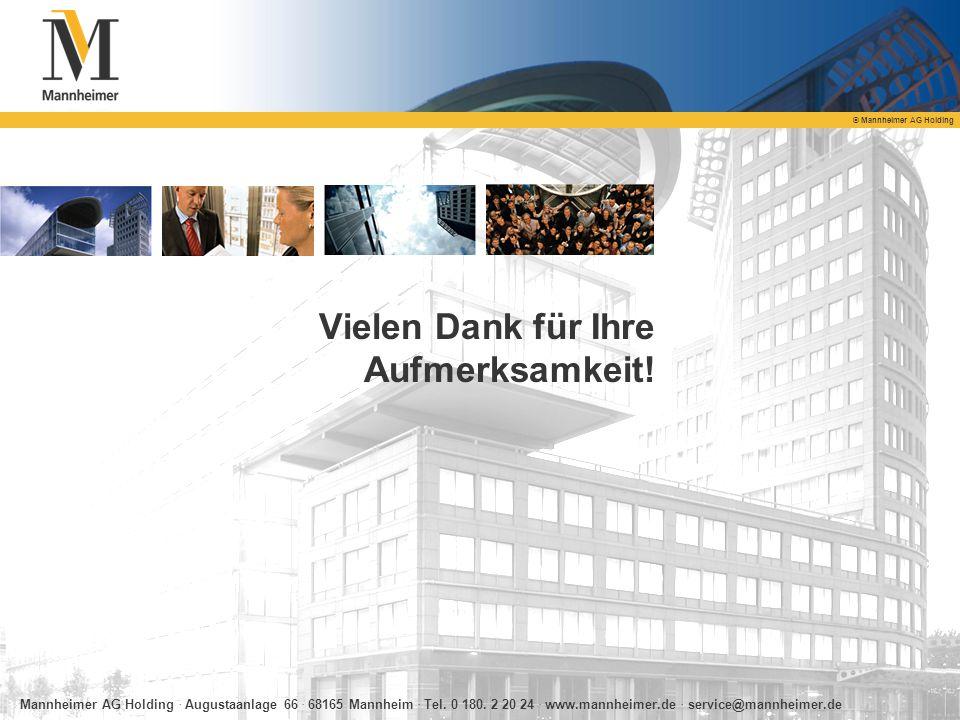 © Mannheimer AG Holding Vielen Dank für Ihre Aufmerksamkeit! Mannheimer AG Holding. Augustaanlage 66. 68165 Mannheim. Tel. 0 180. 2 20 24. www.mannhei