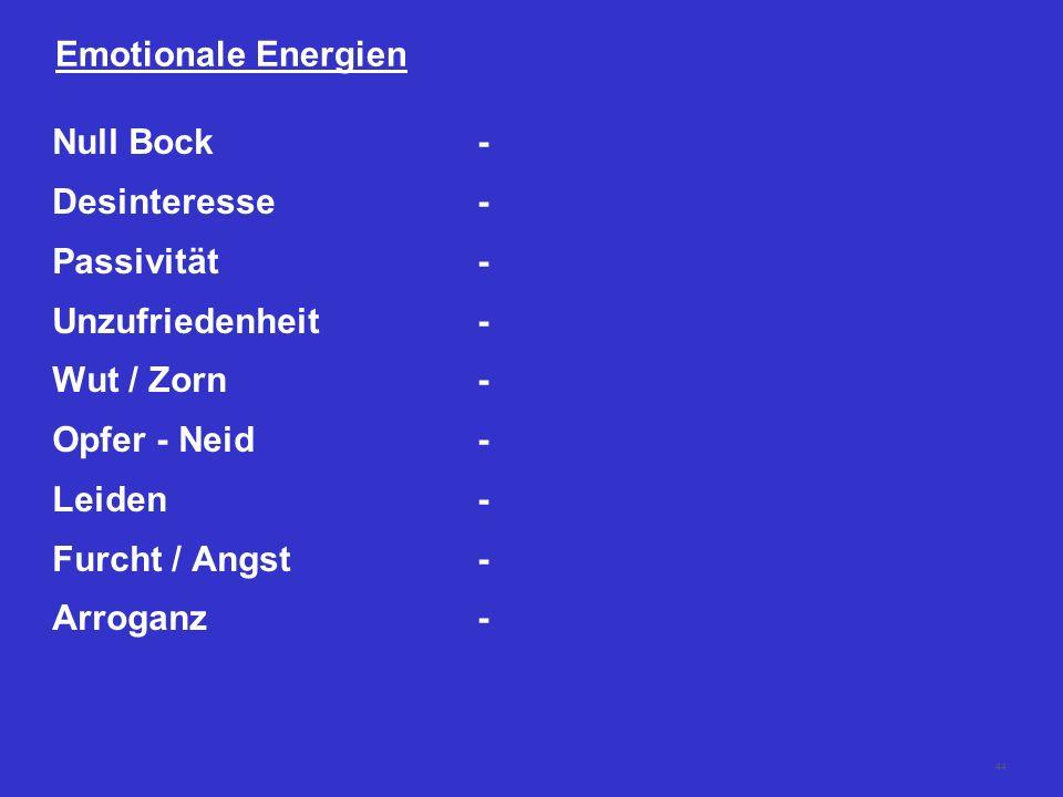 43 Emotionale Energien Zufriedenheit+ Interesse+ Engagement+ Vertrauen+ Sicherheit+ Dankbarkeit+ Bescheidenheit+