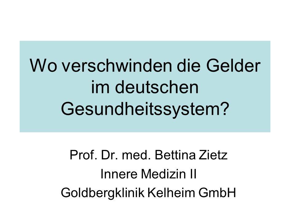 Wo verschwinden die Gelder im deutschen Gesundheitssystem.