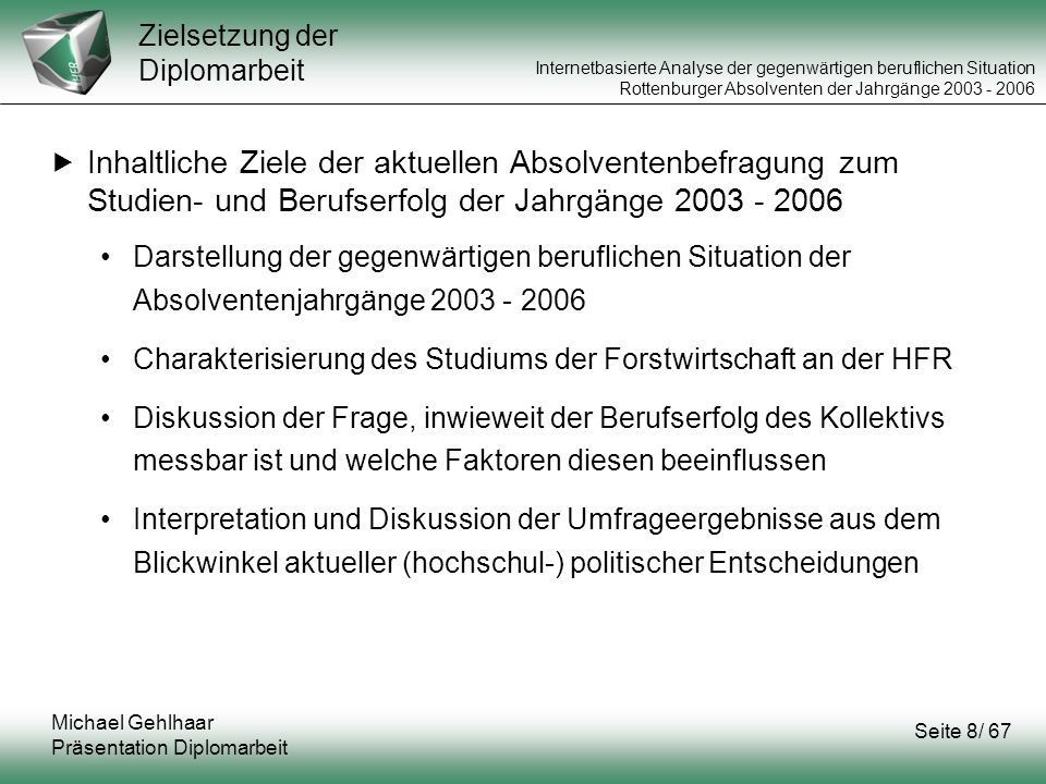 Internetbasierte Analyse der gegenwärtigen beruflichen Situation Rottenburger Absolventen der Jahrgänge 2003 - 2006 Betreuer:Prof.
