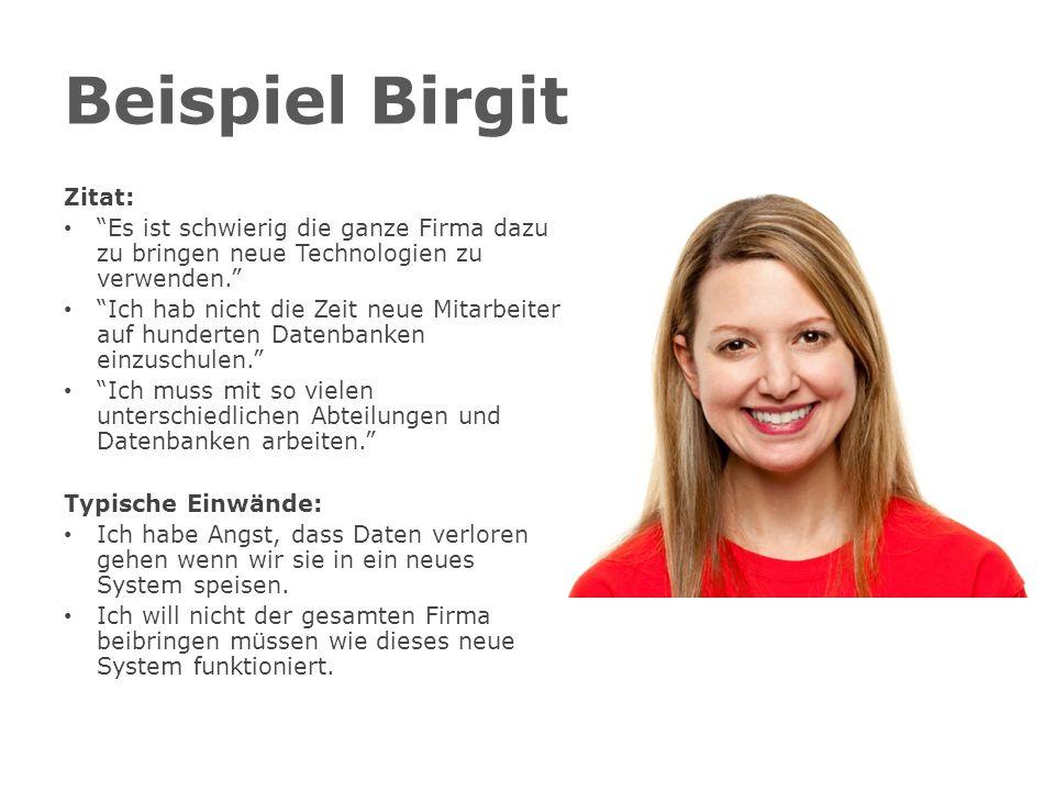 Beispiel Birgit Zitat: Es ist schwierig die ganze Firma dazu zu bringen neue Technologien zu verwenden.