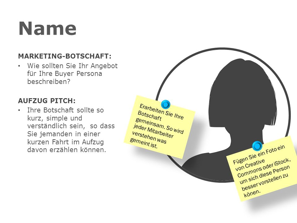 Name MARKETING-BOTSCHAFT: Wie sollten Sie Ihr Angebot für Ihre Buyer Persona beschreiben.