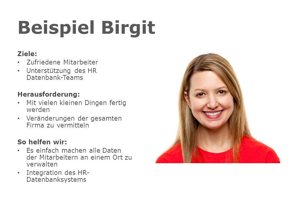 Beispiel Birgit Ziele: Zufriedene Mitarbeiter Unterstützung des HR Datenbank-Teams Herausforderung: Mit vielen kleinen Dingen fertig werden Veränderungen der gesamten Firma zu vermitteln So helfen wir: Es einfach machen alle Daten der Mitarbeitern an einem Ort zu verwalten Integration des HR- Datenbanksystems