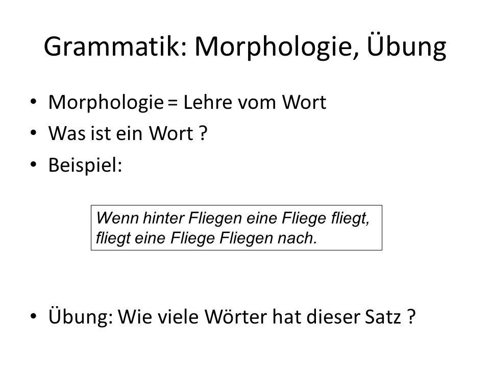 Grammatik: Morphologie, Übung Morphologie = Lehre vom Wort Was ist ein Wort .