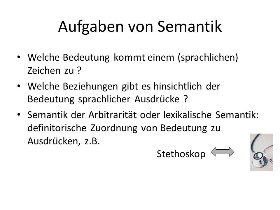 Aufgaben von Semantik Welche Bedeutung kommt einem (sprachlichen) Zeichen zu .