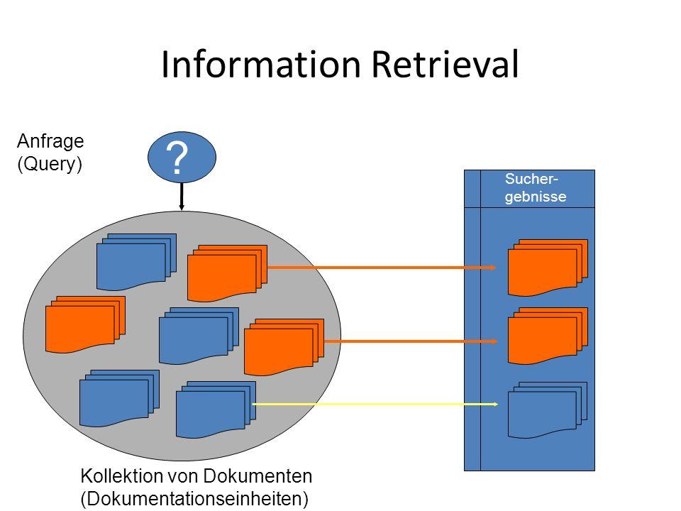 Information Retrieval Sucher- gebnisse Kollektion von Dokumenten (Dokumentationseinheiten) Anfrage (Query) ?