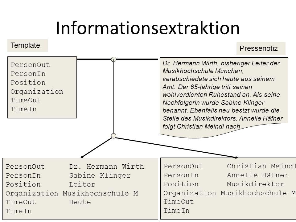 Beispiel: Tagging 45 A severe infection ended the pregnancy. DET NOUNVERBADJDETNOUNST
