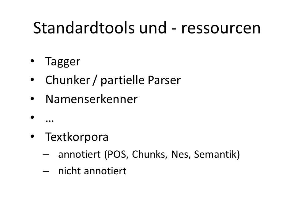 Standardtools und - ressourcen Tagger Chunker / partielle Parser Namenserkenner … Textkorpora – annotiert (POS, Chunks, Nes, Semantik) – nicht annotiert