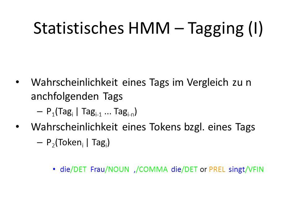 Statistisches HMM – Tagging (I) Wahrscheinlichkeit eines Tags im Vergleich zu n anchfolgenden Tags – P 1 (Tag i | Tag i-1...