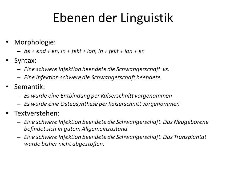 Ebenen der Linguistik Morphologie: – be + end + en, In + fekt + ion, In + fekt + ion + en Syntax: – Eine schwere Infektion beendete die Schwangerschaft vs.