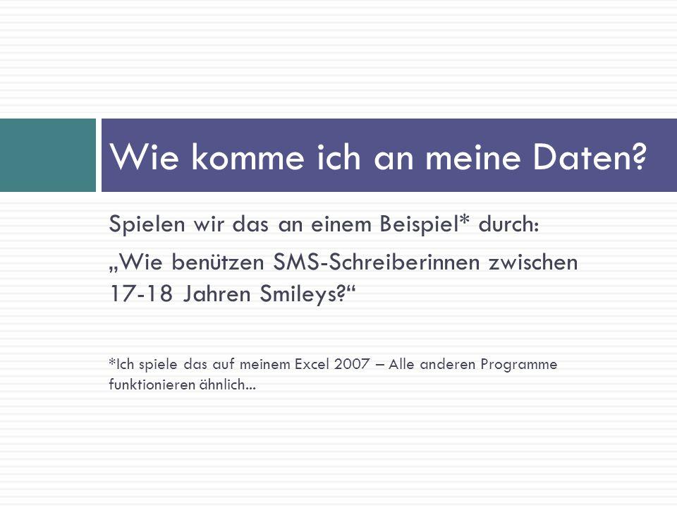 Spielen wir das an einem Beispiel* durch: Wie benützen SMS-Schreiberinnen zwischen 17-18 Jahren Smileys? *Ich spiele das auf meinem Excel 2007 – Alle
