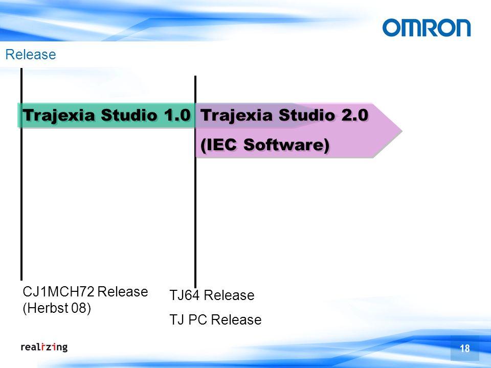 18 TJ64 Release TJ PC Release Release CJ1MCH72 Release (Herbst 08) Trajexia Studio 1.0 Trajexia Studio 2.0 (IEC Software) Trajexia Studio 2.0 (IEC Sof