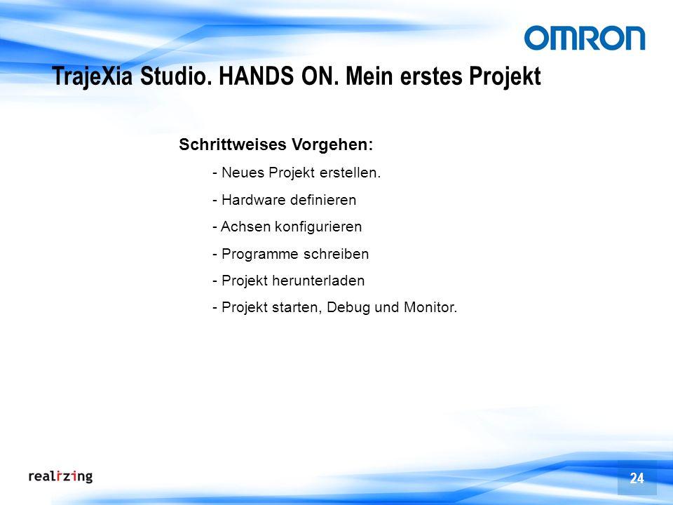 24 TrajeXia Studio. HANDS ON. Mein erstes Projekt Schrittweises Vorgehen: - Neues Projekt erstellen. - Hardware definieren - Achsen konfigurieren - Pr