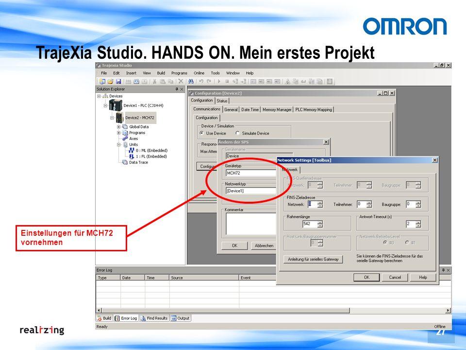 27 TrajeXia Studio. HANDS ON. Mein erstes Projekt Einstellungen für MCH72 vornehmen