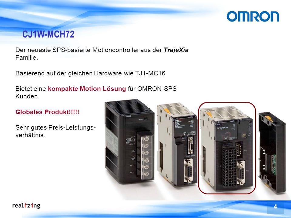 4 CJ1W-MCH72 Der neueste SPS-basierte Motioncontroller aus der TrajeXia Familie. Basierend auf der gleichen Hardware wie TJ1-MC16 Bietet eine kompakte