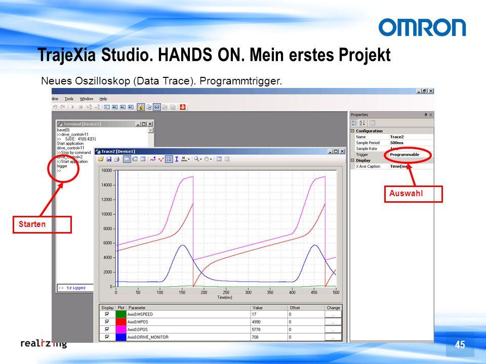 45 Auswahl Starten TrajeXia Studio. HANDS ON. Mein erstes Projekt Neues Oszilloskop (Data Trace). Programmtrigger.