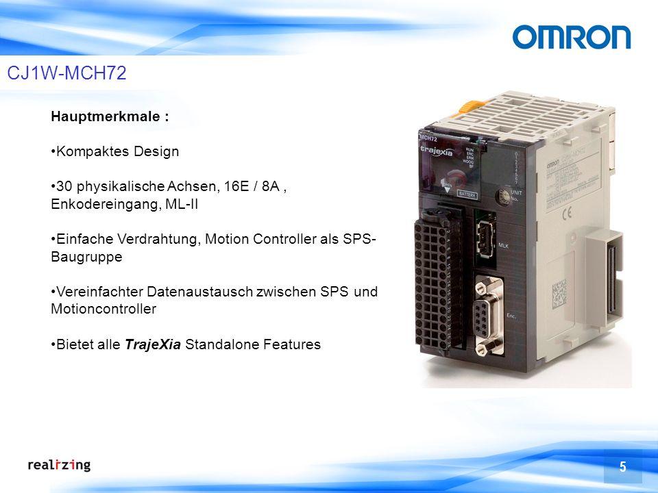 5 CJ1W-MCH72 Hauptmerkmale : Kompaktes Design 30 physikalische Achsen, 16E / 8A, Enkodereingang, ML-II Einfache Verdrahtung, Motion Controller als SPS