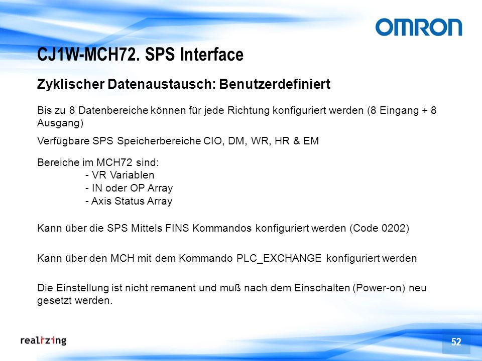 52 CJ1W-MCH72. SPS Interface Zyklischer Datenaustausch: Benutzerdefiniert Bis zu 8 Datenbereiche können für jede Richtung konfiguriert werden (8 Einga
