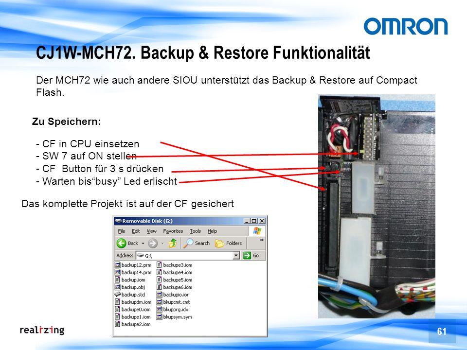 61 CJ1W-MCH72. Backup & Restore Funktionalität Der MCH72 wie auch andere SIOU unterstützt das Backup & Restore auf Compact Flash. Zu Speichern: - CF i